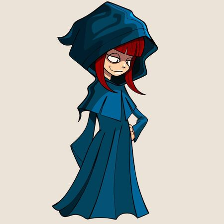 raincoat: cartoon girl in a raincoat with a hood