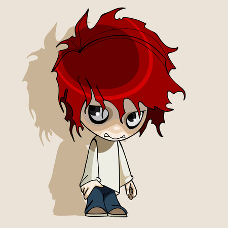 humble: cartoon redhead humble boy Illustration