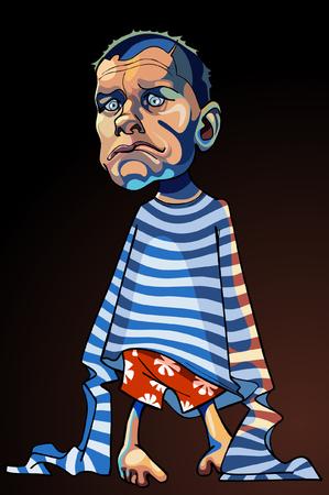 striped vest: cartoon caricature of a sad man in a striped vest