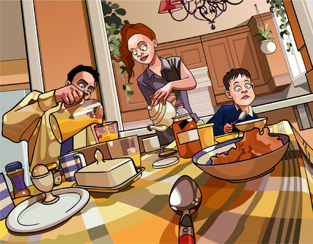 healthy woman: cartoon family breakfast table