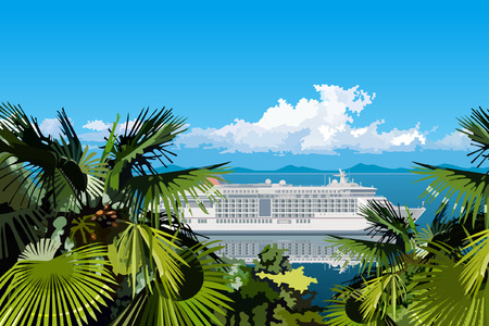ocean liner: palm trees and ocean liner sails on the sea
