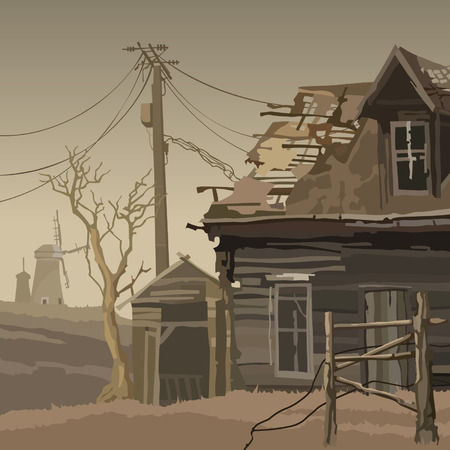 Abandoned village with a ruined house and mills Illustration