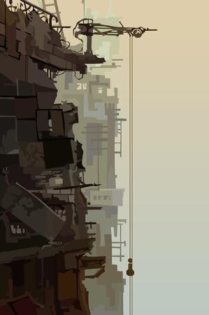 destroyed: destroyed buildings in the fog