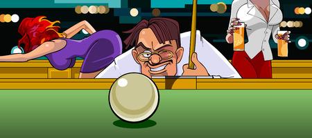 aims: man in the billiard ball aims at