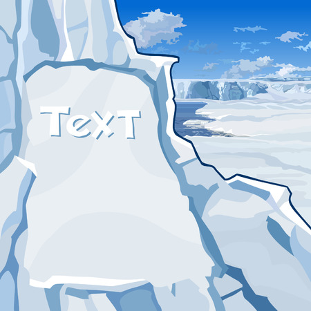 north pole sign: text hewn in ice cliff on the north