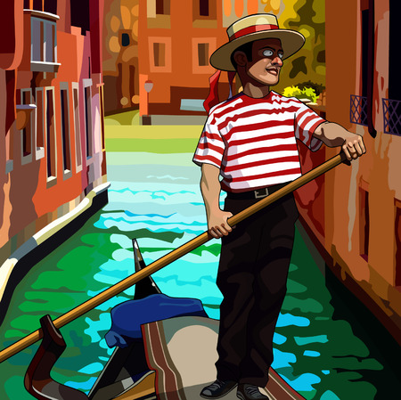 gondolier: cartoon man gondolier on the boat floating between houses Illustration