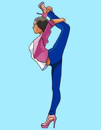 standing on one leg: cartoon woman gymnast standing on one leg Illustration