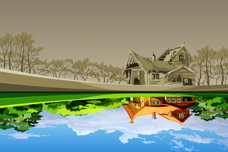 강에 반영 하 고 새로운처럼 보이는 오래 된 낡은 집 일러스트