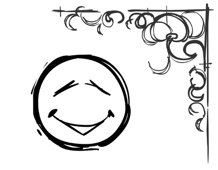 line drawings: smiley face and pattern in the corner draw a pencil Illustration