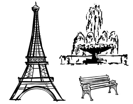 national parks: Eiffel Tower fountain bench drawn in pencil