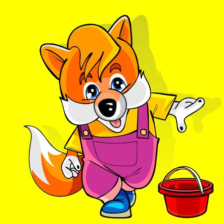 gait: cartoon fox in a pink jumpsuit shows the finger Illustration