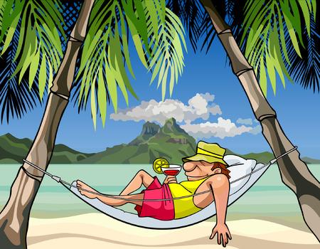 cartoon man in a hammock between palm trees