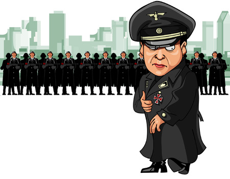 fascism: fascist soldiers with machine guns and their leader