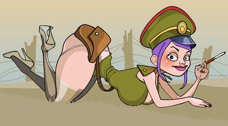 cartoon of a sexy woman in military uniform lying in ambush