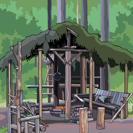 pavilion: wooden structure in the woods Illustration