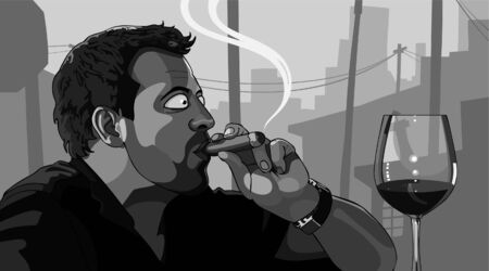 cool guy: man smoking a cigar Illustration
