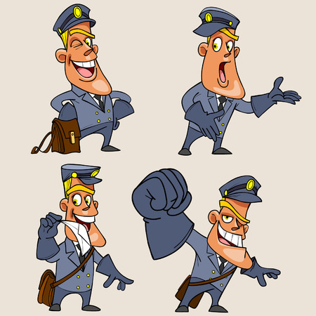 cartoon character postman in different poses and emotions Illustration