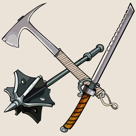 against: weapon against the zombies ax sword mace