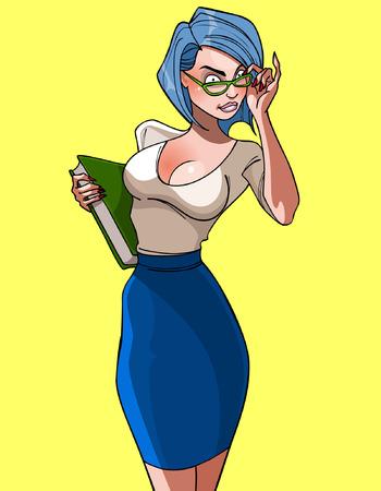 beautiful teacher: cartoon of a beautiful woman teacher with book and glasses