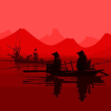 보트에 앉아있는 베트남 모자에 어부들.