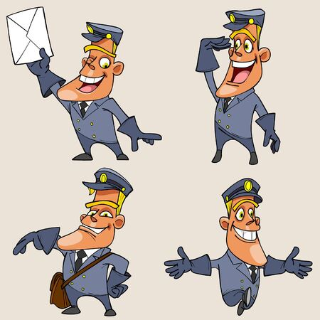 cartoon character postman with different emotions
