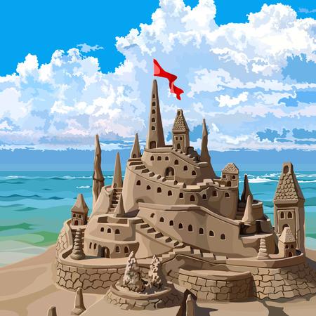 浜辺の砂の城  イラスト・ベクター素材