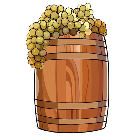 wooden barrel: wooden barrel with a bunches of grapes Illustration