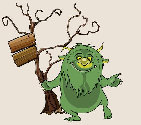 shaggy: cartoon green shaggy beast stands smiling beside a tree Illustration