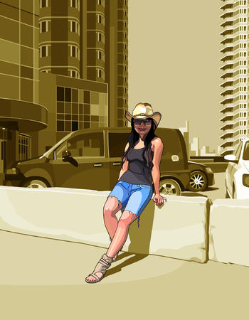 among: cartoon woman in a cowboy hat among highrise buildings