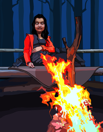bonfire night: cartoon woman sitting around a campfire in the dark forest