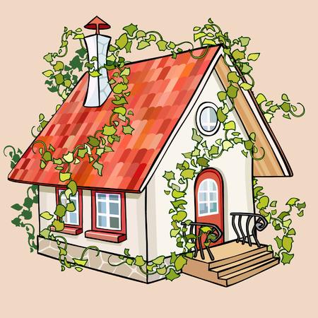 overgrown: cartoon fairy house overgrown with ivy Illustration