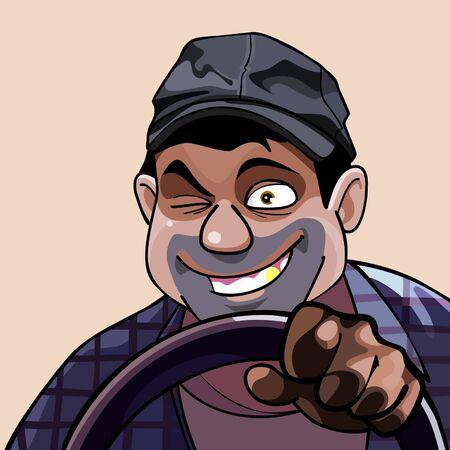 taxista: de dibujos animados de guiño hombre alegre de conducción