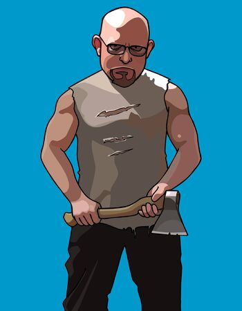 formidable: formidable man with glasses and with an ax
