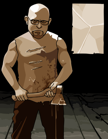 awe: formidable man with glasses and with an ax and a blank sheet