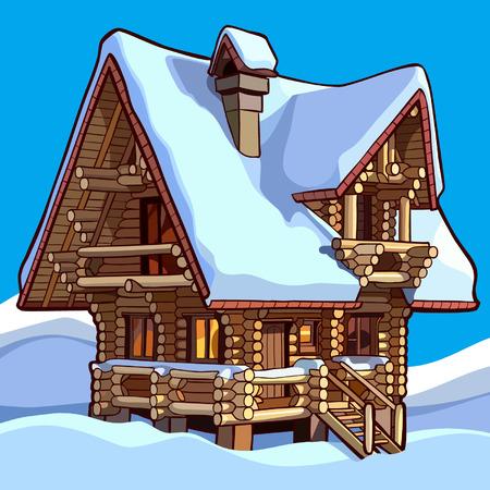 Holzhaus im Schnee steht