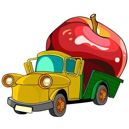 Camión de dibujos animados transporta en la parte trasera de la manzana Foto de archivo - 40925883