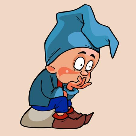 midget: cartoon gnome in a blue cap sitting pensive Illustration