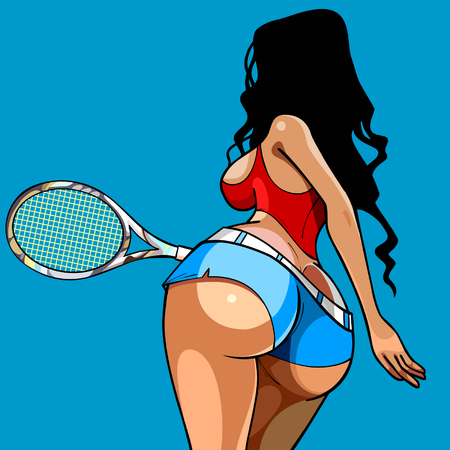 big breast: sexy girl playing tennis