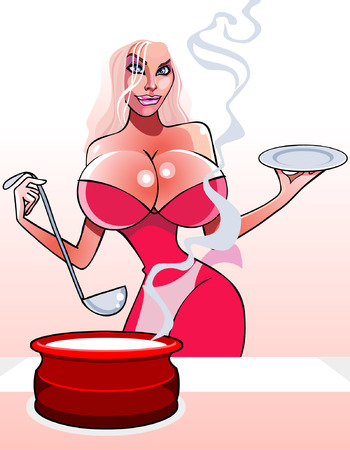 big breast: cartoon sexy woman with a pan and ladle Illustration