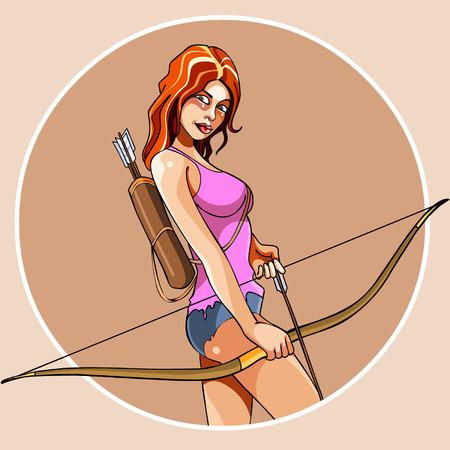 nude girl: cartoon girl with bow and arrow