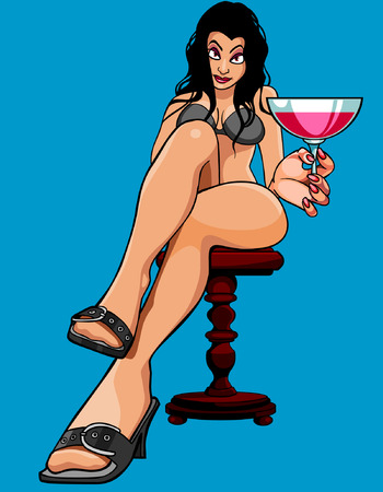 seduction: cartoon sexy woman sitting with a glass Illustration
