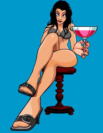 seduce: cartoon sexy woman sitting with a glass Illustration
