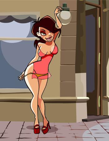 거리에 서있는 만화 섹시한 여자