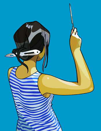 throwing: girl in striped vest throwing knives
