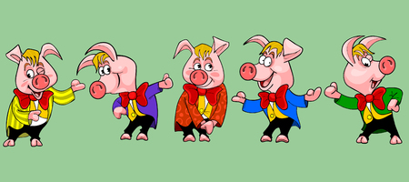 pig cartoon character in the clothes in different poses Vector