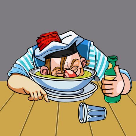 drunken: cartoon drunken sailor nuzzled plate