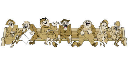 laughing: cartoon people laugh sitting on a bench