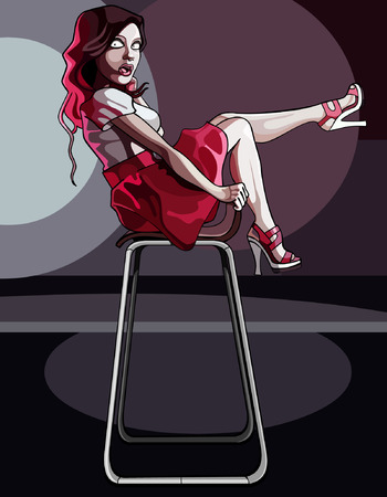 photoshoot: cartoon woman posing sitting on a chair Illustration