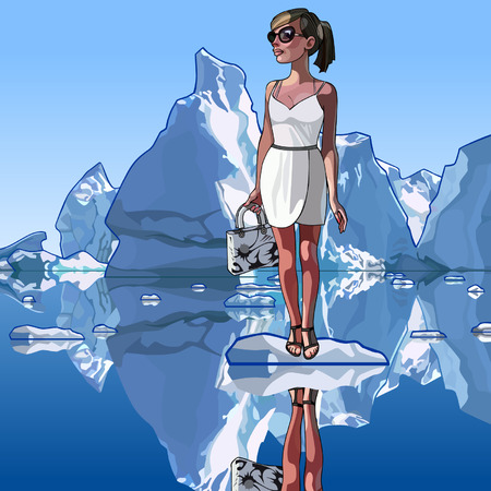 background antarctica: fashionable woman is standing on an ice floe in the middle of icebergs