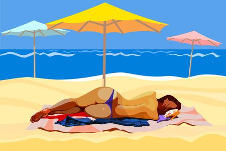 sunshade: woman lying on the beach with umbrellas Illustration